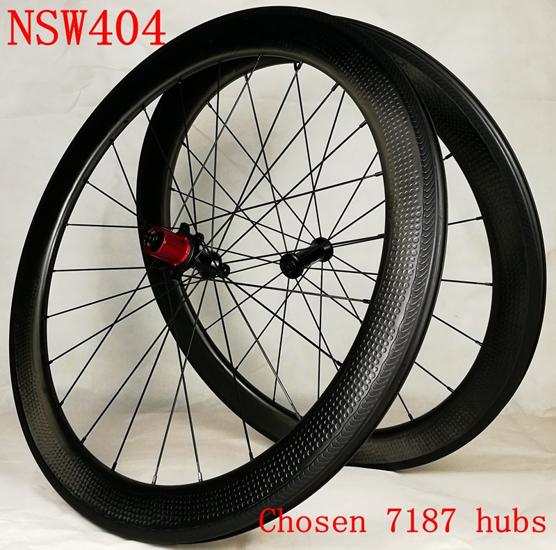 Chosen 7187 hubs Road bicycle 58mm dimple carbon wheels bike carbon wheelset tubeless ready