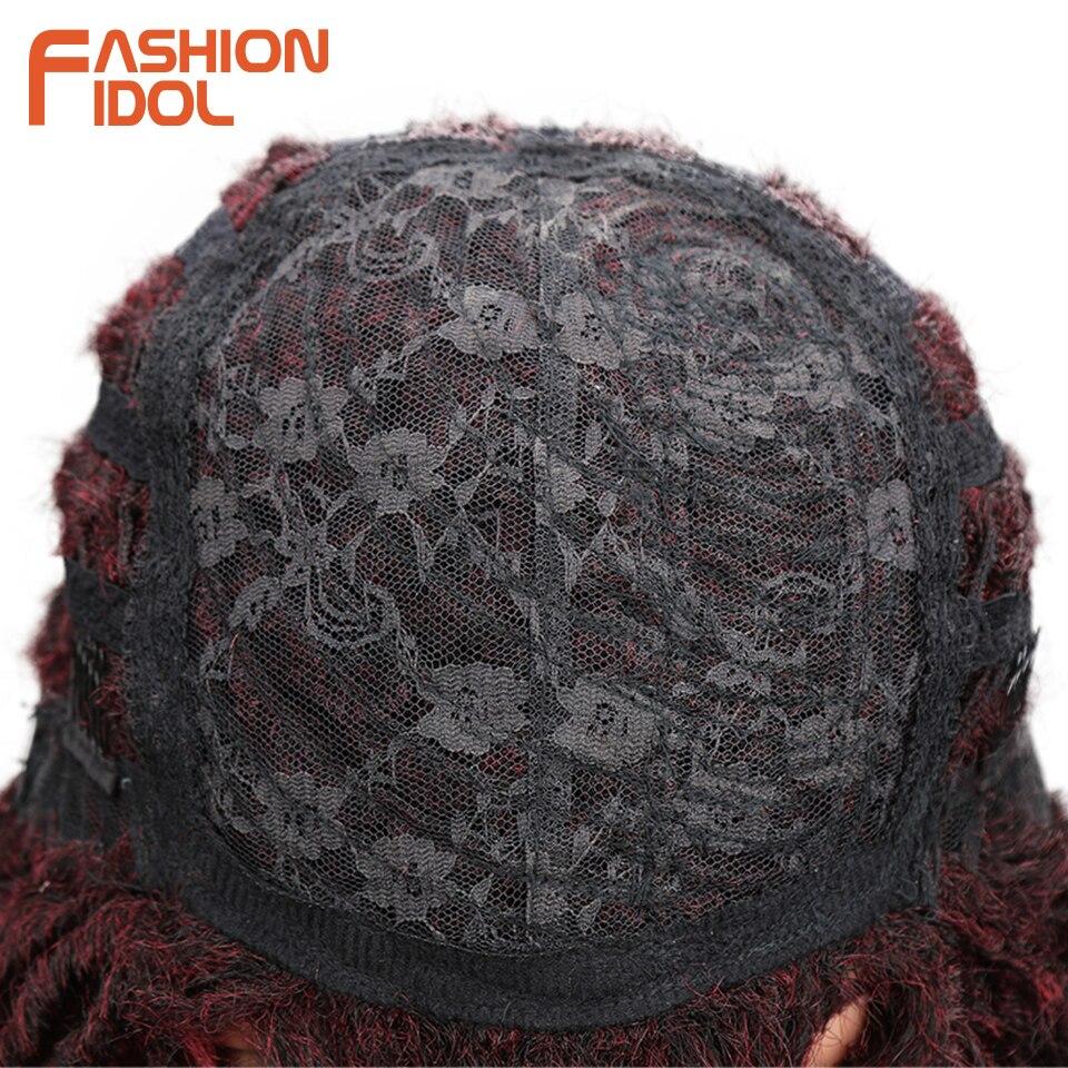 FASHION IDOL Soft Short Synthetic Wigs For Black Women 14 inch High Temperature Fiber Dreadlock Ombre Burg Crochet Twist Hair 4