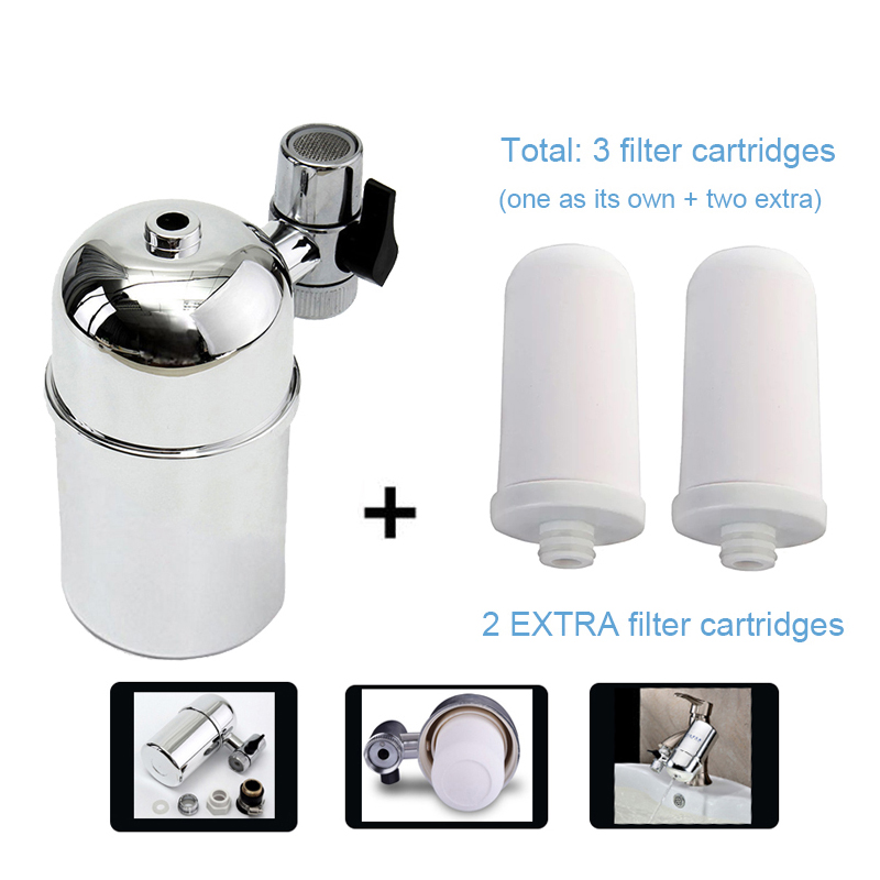 Pack 1 + 2 purificateur de filtre à eau du robinet en céramique pour filtration domestique eau propre avec 2 cartouches filtrantes supplémentaires