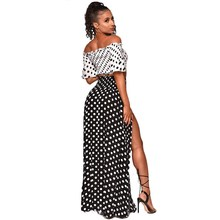 Slash Neck Polka Dot Bohemian Two Piece Set Women Crop Top And High Waist Skirt Summer Suits Maxi Skirt Sets Outfits cutout waist gold polka dot velvet top