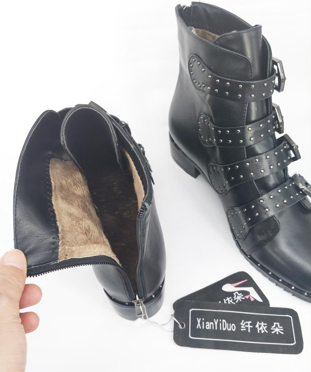 Stivali Caviglia Medio 539 Il 34 Xianyiduo 43 Formato Pelle Di Donna In Vera Scarpe Dimensioni Stivali Grande Più Grandi Moda Tacco Rivetto W1HZE1n