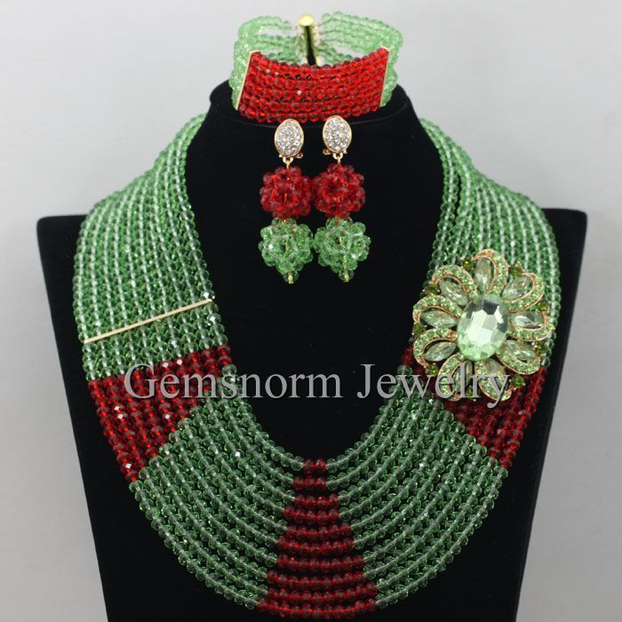 Stylish Lime Green Red Women Crystal Beads Jewelry Accessories Nigerian Wedding African Beads Jewelry Set Free Shipping WB880