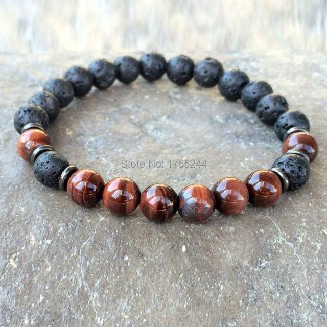 Sn1083 Natural Men S Lava Red Tiger Eye Bracelet New Design Yoga Mala Beads Buddhist Meditation
