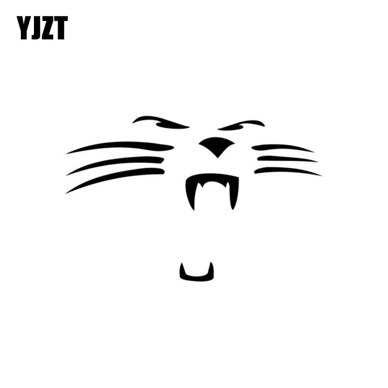 YJZT 12.8CM*8.3CM WILDCAT PANTHER FACE VINYL DECAL CAR STICKER Black/Silver C3-0379