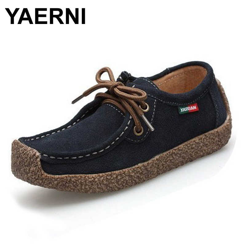 YAERNI summer women casual shoes cowhile leather flats shoes women oxfords for women moccasins ladies shoes women boat shoes