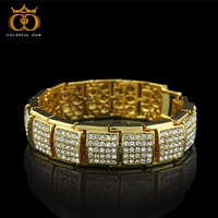 Mens Cool Heavy Bracelet Gold Silver Black Gold Color Iced Out Rhinestones Bracelets Hiphop Bling Fashion Jewelry CB0008