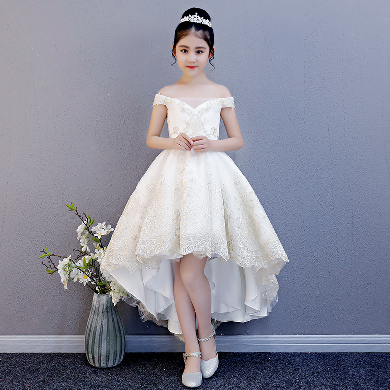 Luxury Off the Shoulder Flower Girl Dresses Wedding Short Front Long Back Girls Formal Dress Lace Up Embroidery Princess Dress pink lace details backless off the shoulder long sleeves mini dress