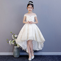Luxury Off the Shoulder Flower Girl Dresses Wedding Short Front Long Back Girls Formal Dress Lace Up Embroidery Princess Dress