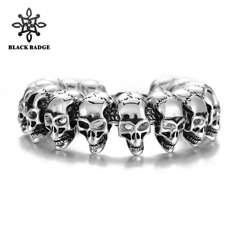 Classic Biker Skeleton Heavy 316L Stainless Steel Silver Black Men Bracelet Fashion Hip Hop Titanium Stainless Steel Jewelry