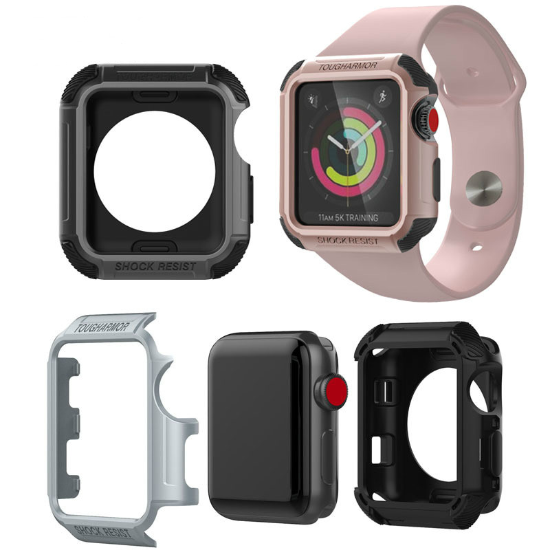 Sport 38mm 42mm Watch PC+TPU Case Band for Apple Watch iWatch 1 2 3 Outdoor Shock Resist Tough Armor Shell Protector Cover Cases sport loop for apple watch band case 42mm 38mm nylon watch strap bracelet with metal frame protector case cover for iwatch 3 2 1
