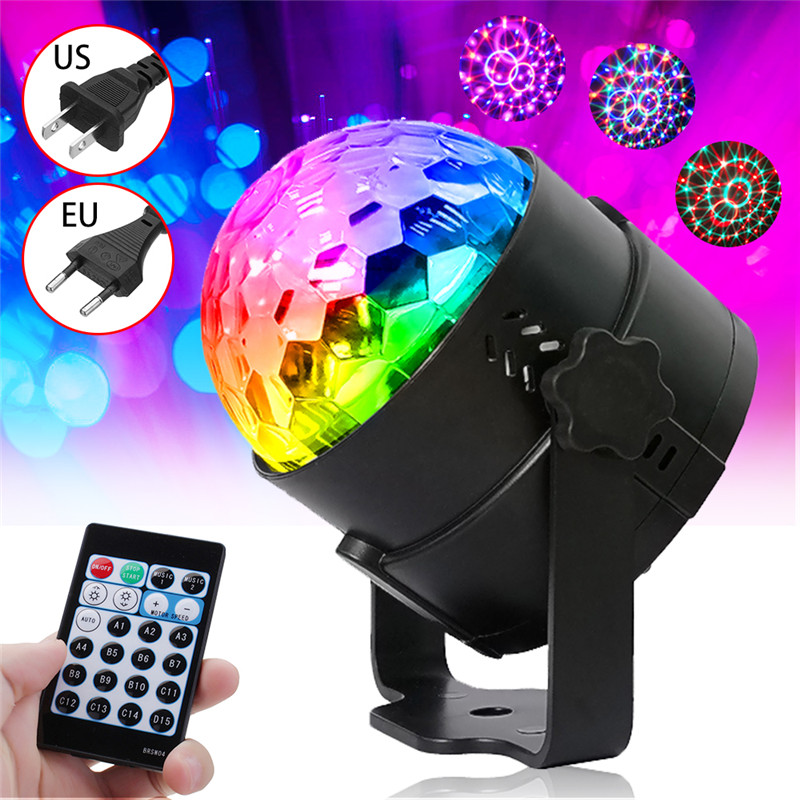 RGB LED Stage Light Crystal Ball 15 Colors Lighting Effects Self-propelled Remote Sound Burst Control For Dj Disco Party