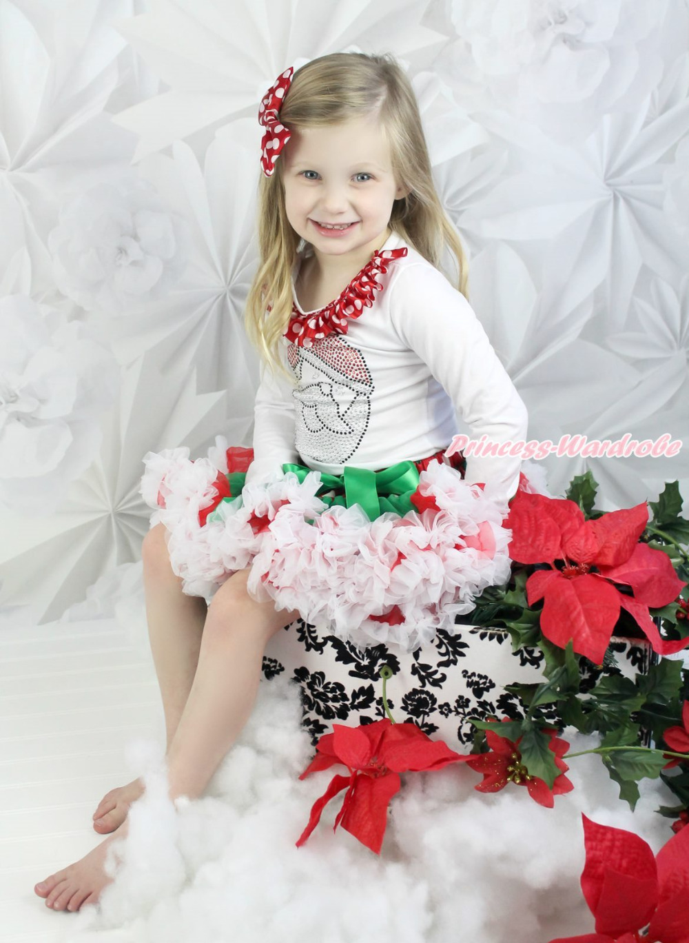 XMAS Rhinestone Santa Claus White Top Red Green White Dot Pettiskirt Set 1-8Year MAPSA0083 my 1st christmas santa claus white top xmas dot waist girls pettiskirt set 1 8y