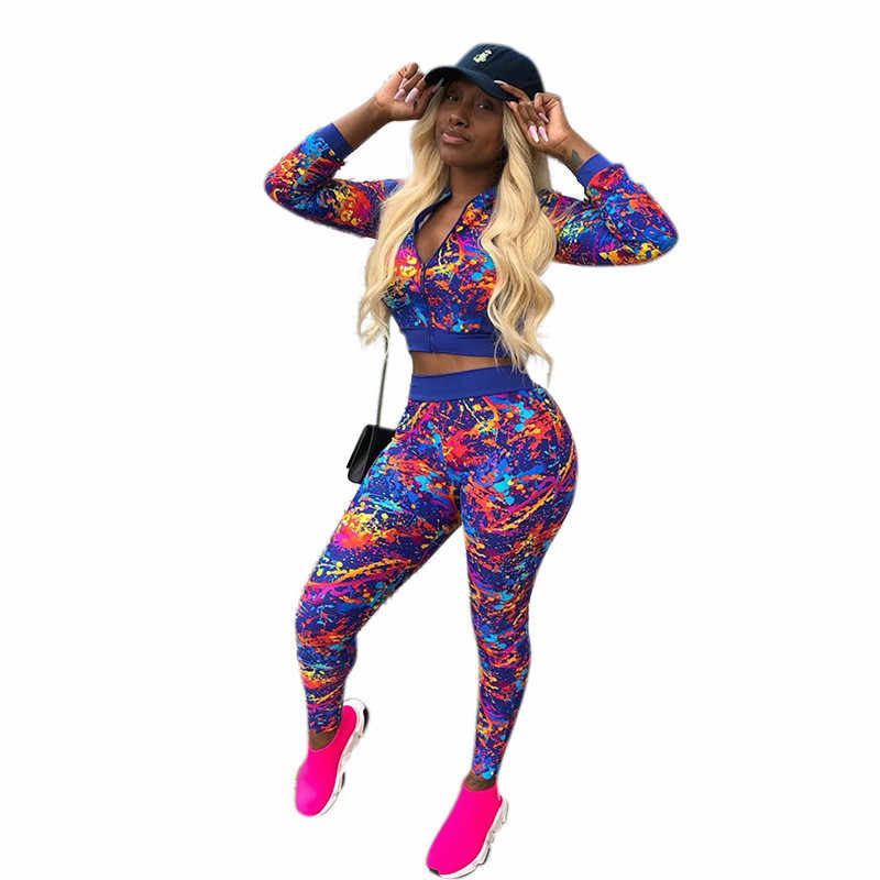 caf058b6cdd7 2018 Autumn Plus Size Women Tracksuit Printed Two Piece Set Top and Pants  Jogging Sweat Suits