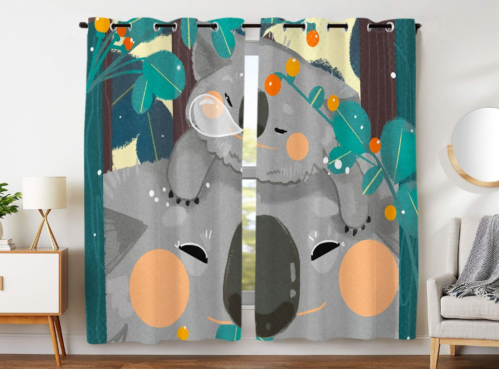 Blackout Curtains 2 Panels Grommet Curtains for Kids Bedroom Cute Little Raccoon Sleeps On Her Mother