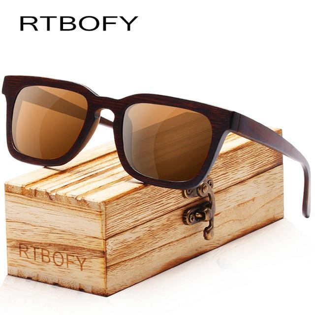 d957dac5b9a RTBOFY Wood Sunglasses for Men   Women Bamboo Frame Eyeglasse Polarized  Lenses Glasses Vintage Design Shades UV400 Protection