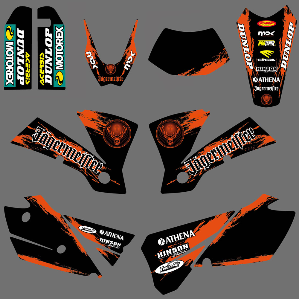 цена NICECNC Team Background Graphic Decal Sticker Kit For KTM EXC 125 200 250 300 400 450 525 2004 Motorcycle Decals And Stickers