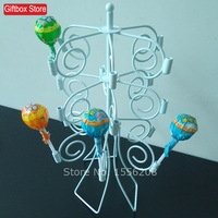 18 Sticks Wrought Iron Lollipop Display Cake Pop Display Shelves White Metal Display Holder For Dessert Shop