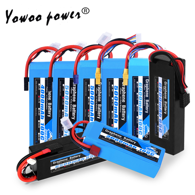 RC Graphene Battery Lipo 2S 7.4V 3S 11.1V 4S 14.8 5S 18.5V 6S 22.2V 3000mah 3300mah 4000mah 5000mah 6000mah 6500mah For RC Car