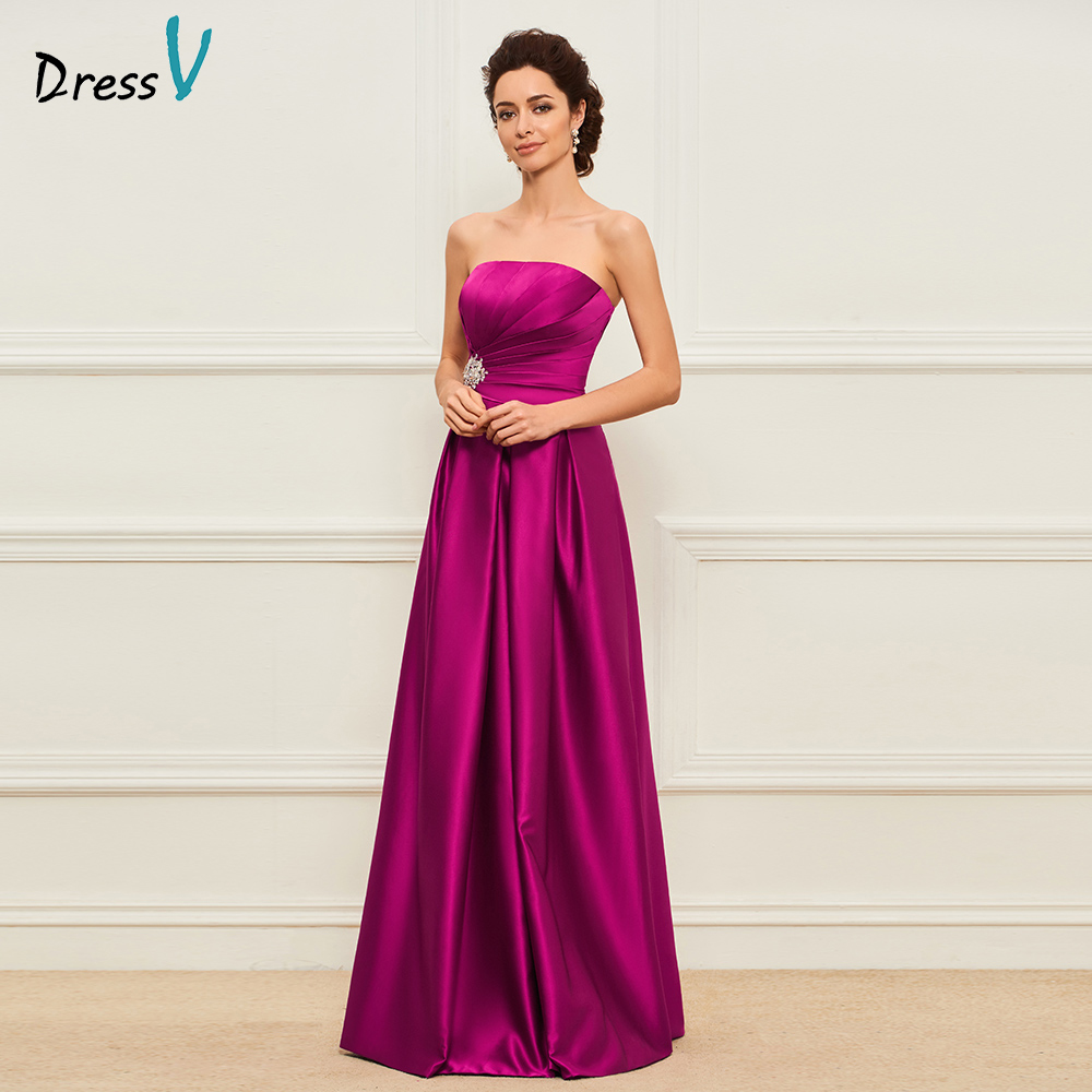Dressv purple long mother of the bride strapless a line sleeveless floor length beading formal party mother of the bride dress
