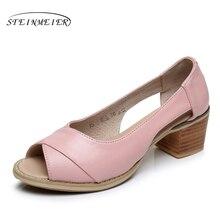Женская обувь из натуральной кожи больших размеров американский размер 9; дизайнерские винтажные на высоком каблуке с открытым носком черного и розового цвета ручной работы синие сандалии 2017