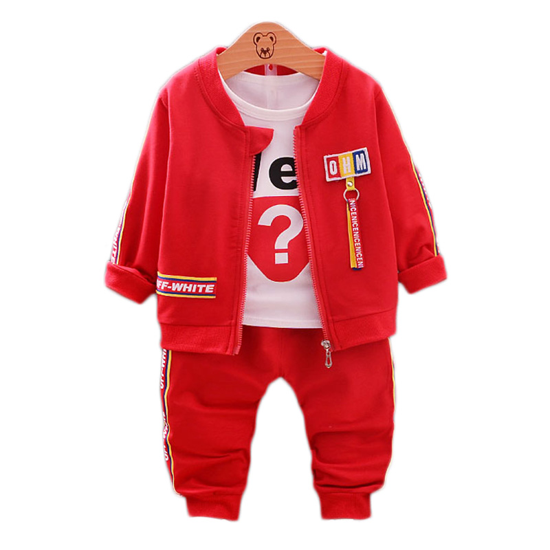 TOPSHOW spring autumn Childrens cltohing baby boy clothes long sleeve set Question mark three-piece set for 1T-5T kid suit