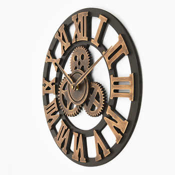 Handmade Oversized 3D retro rustic decorative luxury art big gear wooden vintage large wall clock on the wall for gift 20 inche
