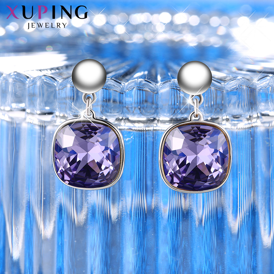 HTB1a8x5XzzuK1Rjy0Fpq6yEpFXaF - Xuping Square Earrings Crystals from Swarovski Luxury Vintage Style Jewellery Women Girl  Valentine's Day Gifts M94-20493
