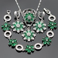 Silver Color Jewelry Sets For Women Green Created Emerald Necklace Pendant Bracelets Earrings Rings Christmas Gift Free Box