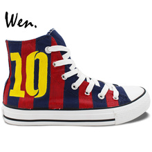Wen Hand Painted Shoes for Men Women Design Custom Soccer Jersey Football Number 10 High Top Canvas Sneakers for Gifts