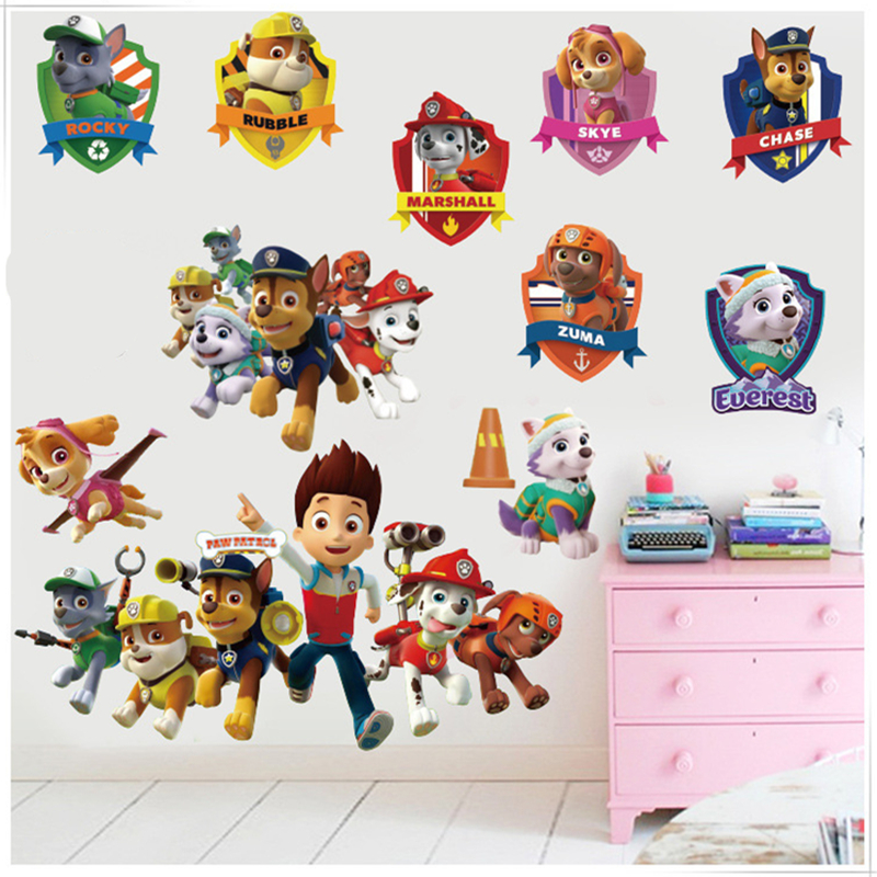 Cartoon Fashion Super Cool Dogs Wall Stickers DIY Removable Wall Decals For Kids Room boy Baby Bedroom Animal Home Decor poster