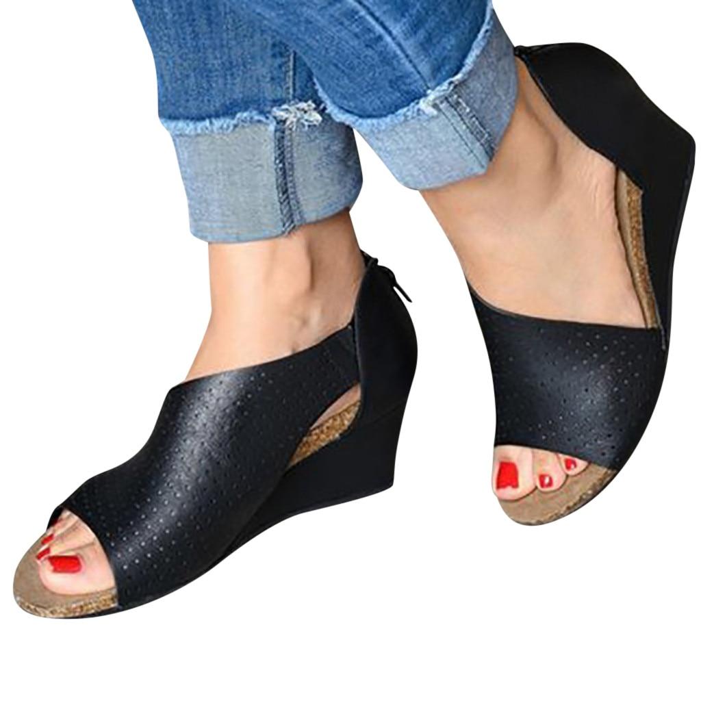 Casual Shoes Sandals Wedges Beach Peep-Toe Womens Fashion Roman Outsid Shallow-Mouth