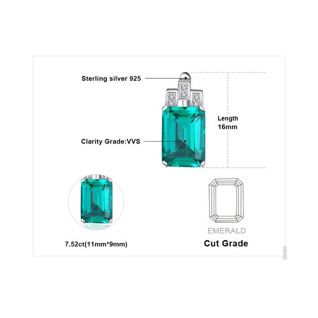 Luxury Emerald Silver Earrings