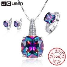 Мистик Радуга 100% 925 штамп ожерелье стерлингового серебра серьги кольца годовщина свадьбы, подарки, ювелирные изделия наборы для женщин/жена