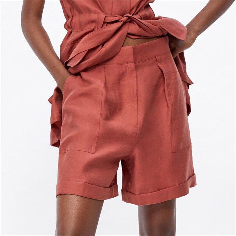 Women Vogue Solid Shorts Pockets Zipper Fly Design Stylish Female Casual Summer Shorts Pantalones Cortos