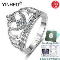 Gesendet Silber Zertifikat! YINHED 100% 925 Sterling Silber Krone Ring AAA Zirkon CZ Hochzeit Bands Ringe für Frauen Schmuck ZR562