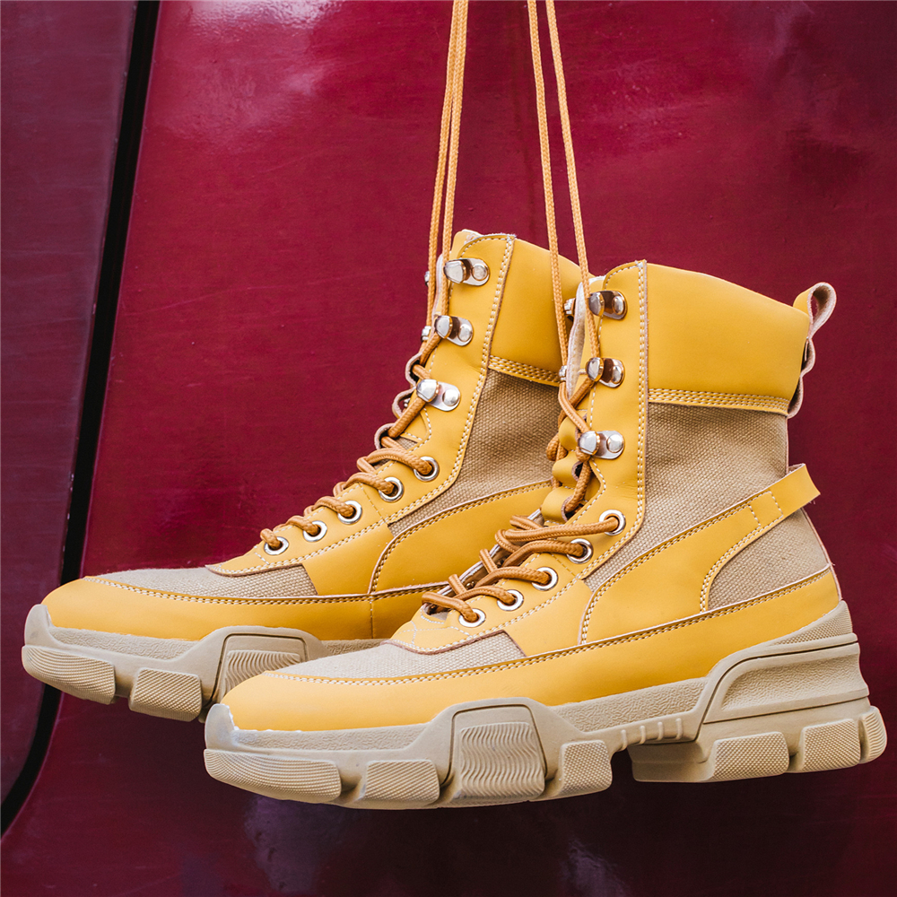 High À Sneakers forme Décontracté Épaisse Patchwork Bigsize42 Dame Lacets Plate Buonoscarpe Bottines Top Talon Noir Femmes Semelle jaune p8xqtRnwA