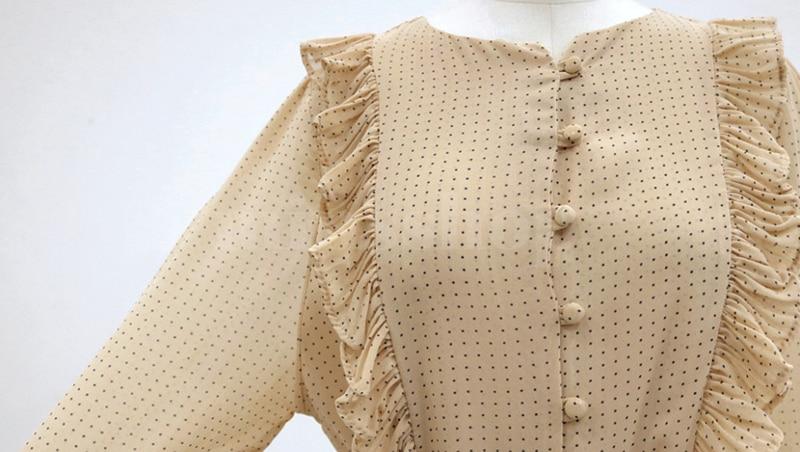 BGTEEVER Vintage O-neck Ruffles Chiffon Women Dress Flare Sleeve Polka Dot Lace Up Female Dress Two Layers Pleated Vestidos 25