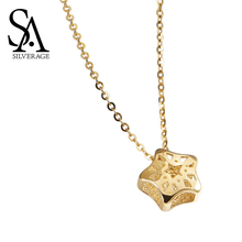 SA SILVERAGE Necklaces Rushed Chains Party Heart Ketting 14k Pendant Necklace For Women Fine Jewelry New Arrival 2019