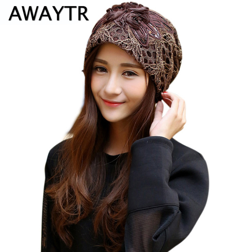 AWAYTR Elegant Lady Beanies Sequined Flower Slouchy Baggy Hat Hollow Lace Headwear Skullies for Women Fashion Butterfly Hats awaytr autumn skullies