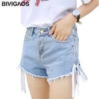 BIVIGAOS 2017 Sommer Neue Frauen Grate Quaste Jeans-Shorts Farbige Gewaschen Jeans-Shorts Breites Bein A-linie Kurze Jeans Frauen