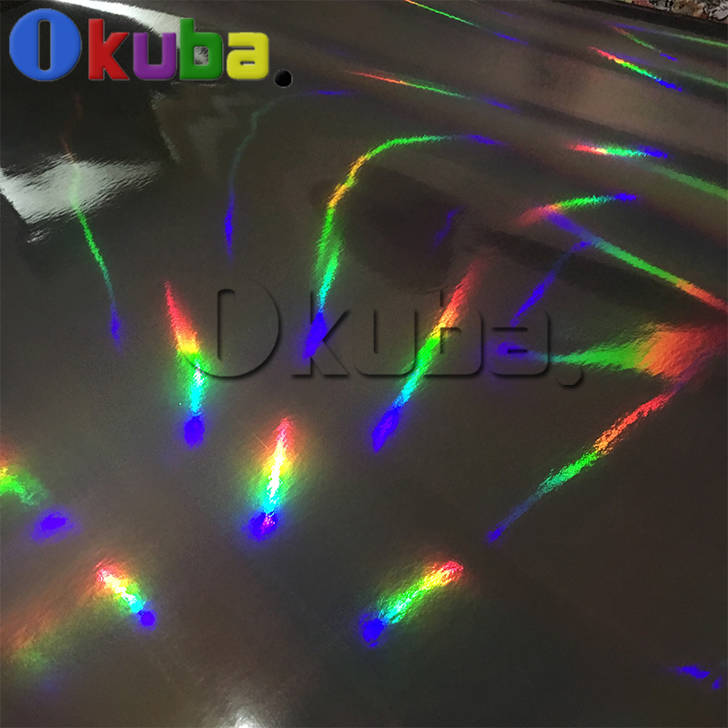 Black Holographic Chrome Vinyl Car Wrap Sticker Laser Plating Rainbow Film Sheet With Air Bubble Free 20m/roll