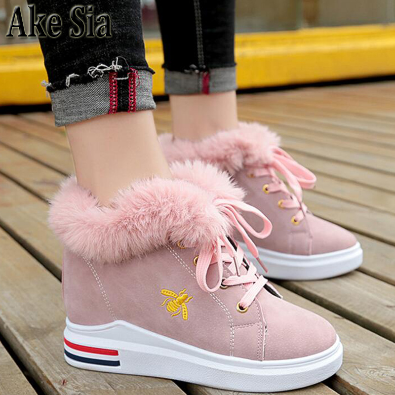 Ake Sia Women's Trendy Winter Snow Warm Fluff Cotton Martin Lace Up Round Toe Ankle Boot Bottine Flat Shoes Zapatos Booties F297 ake sia british winter fashion women warm hairy fluff slip on snow bottine martin boots increased with shoes ankle booties f275