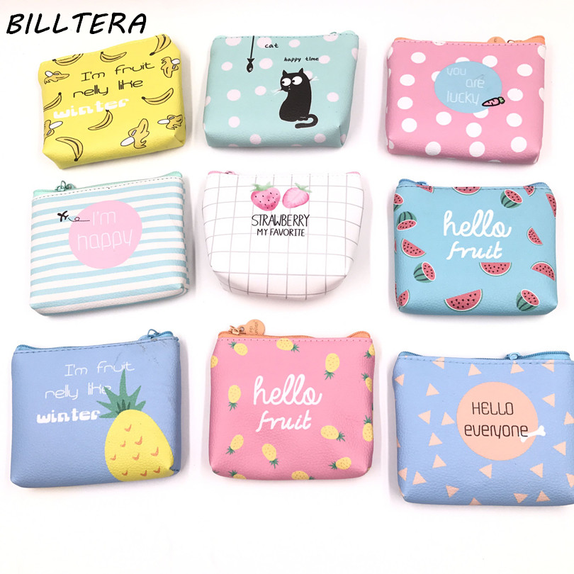 Billtera Summer New Brand Leather Purses Small Fresh Casual Pu Coin Wallet Lady Fashion Fruits Pattern Cartoon Dollar Money Bag kawaii fresh summer fruits banana