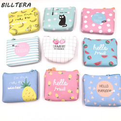 Billtera Summer New Brand Leather Purses Small Fresh Casual Pu Coin Wallet Lady Fashion Fruits Pattern Cartoon Dollar Money Bag