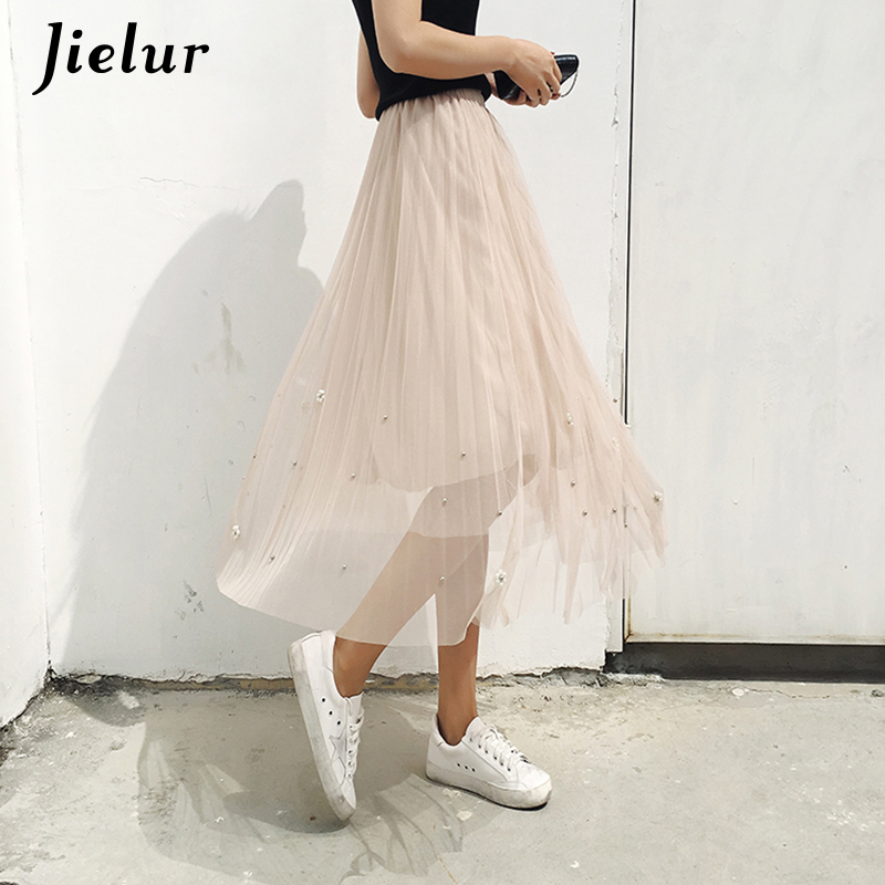 Jielur Beading Chiffon Skirt Black Sweet A-line Women Saias Fashion 2019 Maxi Skirts Pleated Tulle Skirt Casual Jupe Saia Faldas