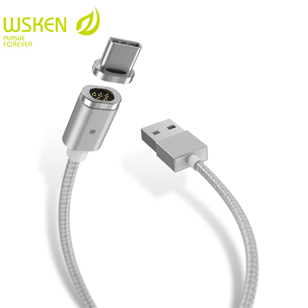 WSKEN Mini 2 Magnetic USB Type C Cable USB C Magnetic Charger Cable For SAMSUNG S8 note8 HUAWEI Mobile Phone Cables USB-C Type-C