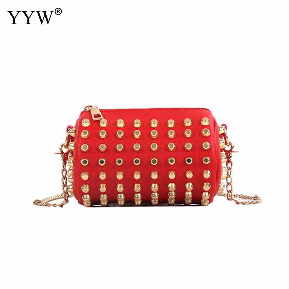 Luxury Round Bag Leather Crossbody Bag Wholesale Studded Rivet Chains Women Handbags Borse Di Lusso Donne Con Catena Punk Tote алиэкспресс сумка прозрачная