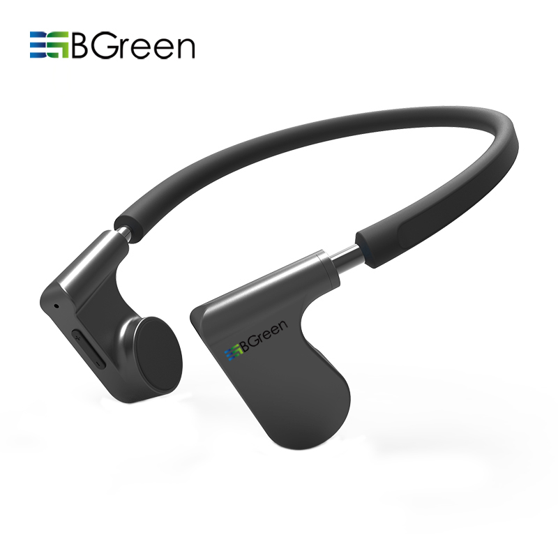 BGreen Bone Conduction Sports Bluetooth Earphone Cell Phone Stereo Headphone Headset Mic Microphone Support Hands Free Call