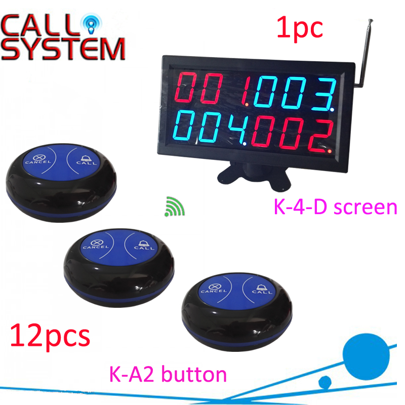 1 display receiver 12 table button Waiter buzzer calling system for service device wireless restaurant buzzer calling system with big display and 2keys call button for service guest 1 display 25 call button
