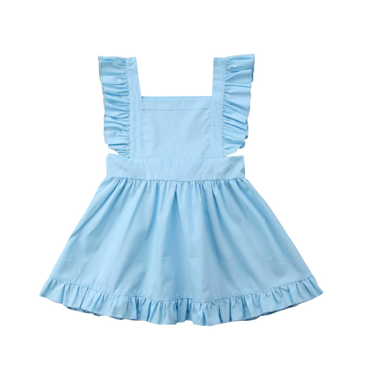 1e903e9f93a 0-5Y Newborn Infant Kids Baby Girl Summer Blue Tutu Dress Princess Party  Wedding Bowknot